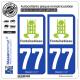 2 Autocollants plaque immatriculation Auto 77 Fontainebleau - Tourisme