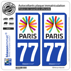 2 Autocollants plaque immatriculation Auto 77 Île-de-France - Paris Région