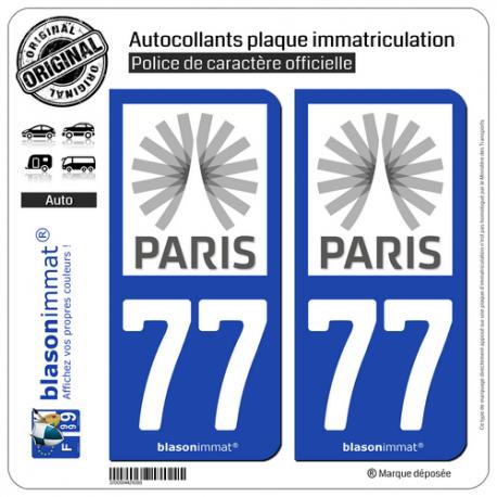2 Autocollants plaque immatriculation Auto 77 Île-de-France - Tourisme