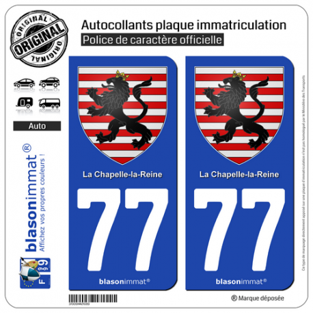 2 Autocollants plaque immatriculation Auto 77 La Chapelle-la-Reine - Armoiries