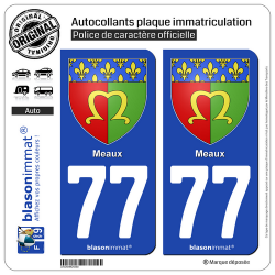 2 Autocollants plaque immatriculation Auto 77 Meaux - Armoiries