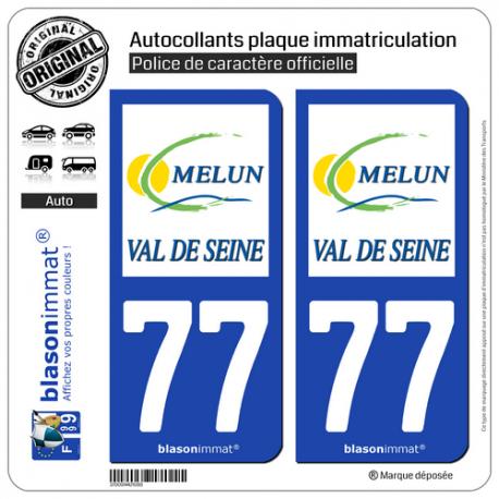 2 Autocollants plaque immatriculation Auto 77 Melun - Agglo