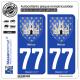 2 Autocollants plaque immatriculation Auto 77 Melun - Armoiries