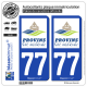 2 Autocollants plaque immatriculation Auto 77 Provins - Tourisme