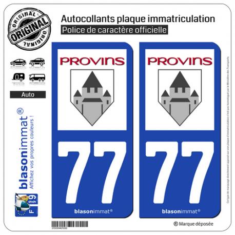 2 Autocollants plaque immatriculation Auto 77 Provins - Ville