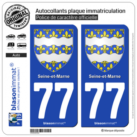 2 Autocollants plaque immatriculation Auto 77 Seine-et-Marne - Armoiries