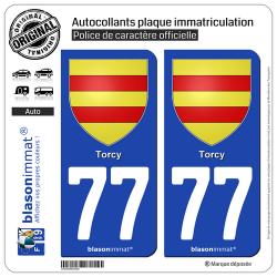 2 Autocollants plaque immatriculation Auto 77 Torcy - Armoiries