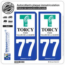 2 Autocollants plaque immatriculation Auto 77 Torcy - Ville