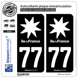 2 Autocollants plaque immatriculation Auto 77 Île de France - LogoType Black