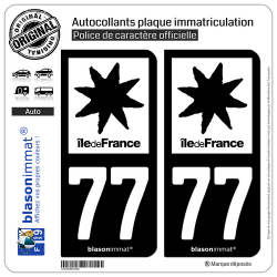 2 Autocollants plaque immatriculation Auto 77 Île de France - LogoType N&B