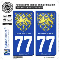 2 Autocollants plaque immatriculation Auto 77 La Ferté-sous-Jouarre - Armoiries