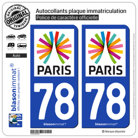 2 Autocollants plaque immatriculation Auto 78 Île-de-France - Paris Région