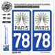 2 Autocollants plaque immatriculation Auto 78 Île-de-France - Tourisme