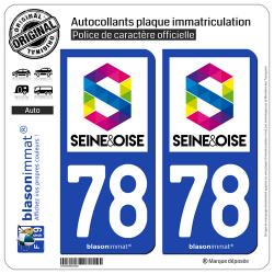 2 Autocollants plaque immatriculation Auto 78 Seine et Oise - Agglo