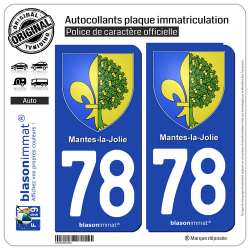 2 Autocollants plaque immatriculation Auto 78 Mantes-la-Jolie - Armoiries