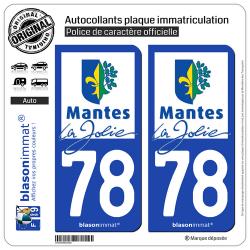 2 Autocollants plaque immatriculation Auto 78 Mantes-la-Jolie - Ville
