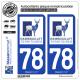 2 Autocollants plaque immatriculation Auto 78 Rambouillet - Agglo