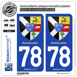 2 Autocollants plaque immatriculation Auto 78 Rambouillet - Armoiries