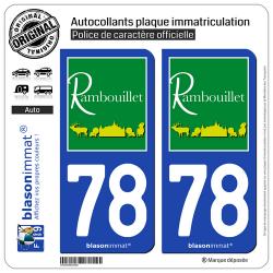 2 Autocollants plaque immatriculation Auto 78 Rambouillet - Tourisme