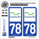 2 Autocollants plaque immatriculation Auto 78 Rambouillet - Ville