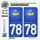 2 Autocollants plaque immatriculation Auto 78 Saint-Germain-en-Laye - Armoiries