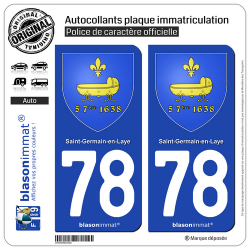 2 Autocollants plaque immatriculation Auto 78 Saint-Germain-en-Laye - Armoiries