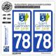 2 Autocollants plaque immatriculation Auto 78 Saint-Germain-en-Laye - Ville
