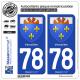2 Autocollants plaque immatriculation Auto 78 Versailles - Armoiries