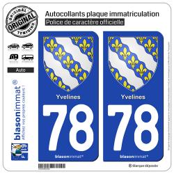 2 Autocollants plaque immatriculation Auto 78 Yvelines - Armoiries