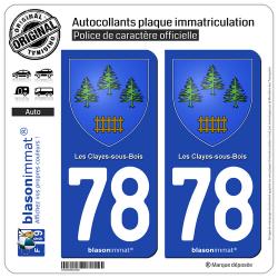 2 Autocollants plaque immatriculation Auto 78 Les Clayes-sous-Bois - Armoiries