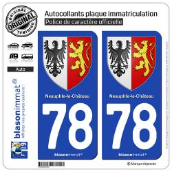 2 Autocollants plaque immatriculation Auto 78 Neauphle-le-Chateau - Armoiries