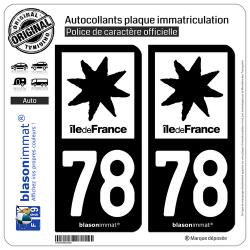 2 Autocollants plaque immatriculation Auto 78 Île de France - LogoType N&B