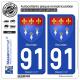 2 Autocollants plaque immatriculation Auto 91 Dourdan - Armoiries