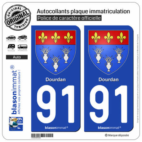 2 Autocollants plaque immatriculation Auto 91 Dourdan - Armoiries
