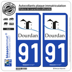2 Autocollants plaque immatriculation Auto 91 Dourdan - Commune