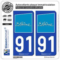 2 Autocollants plaque immatriculation Auto 91 Essonne - Département