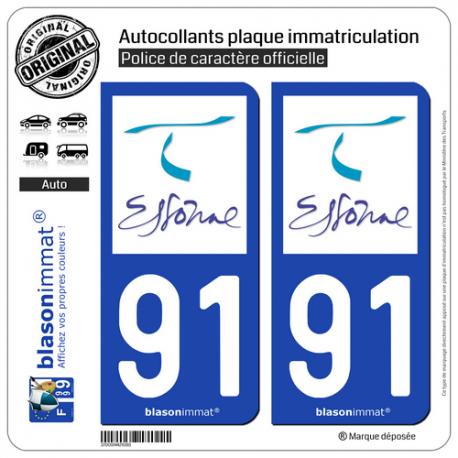 2 Autocollants plaque immatriculation Auto 91 Essonne - Tourisme