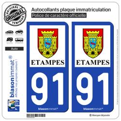 2 Autocollants plaque immatriculation Auto 91 Étampes - Ville