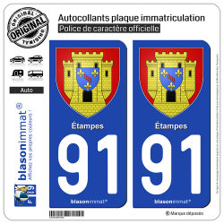 2 Autocollants plaque immatriculation Auto 91 Étampes - Armoiries