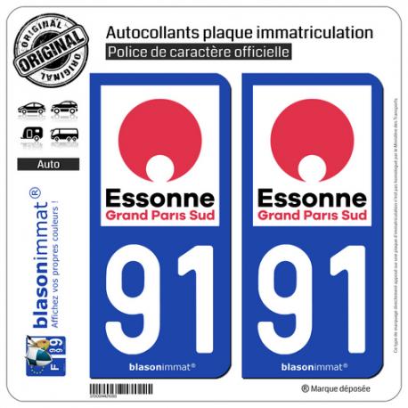 2 Autocollants plaque immatriculation Auto 91 Évry - Agglo