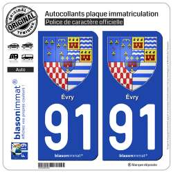 2 Autocollants plaque immatriculation Auto 91 Évry - Armoiries