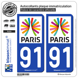 2 Autocollants plaque immatriculation Auto 91 Île-de-France - Paris Région