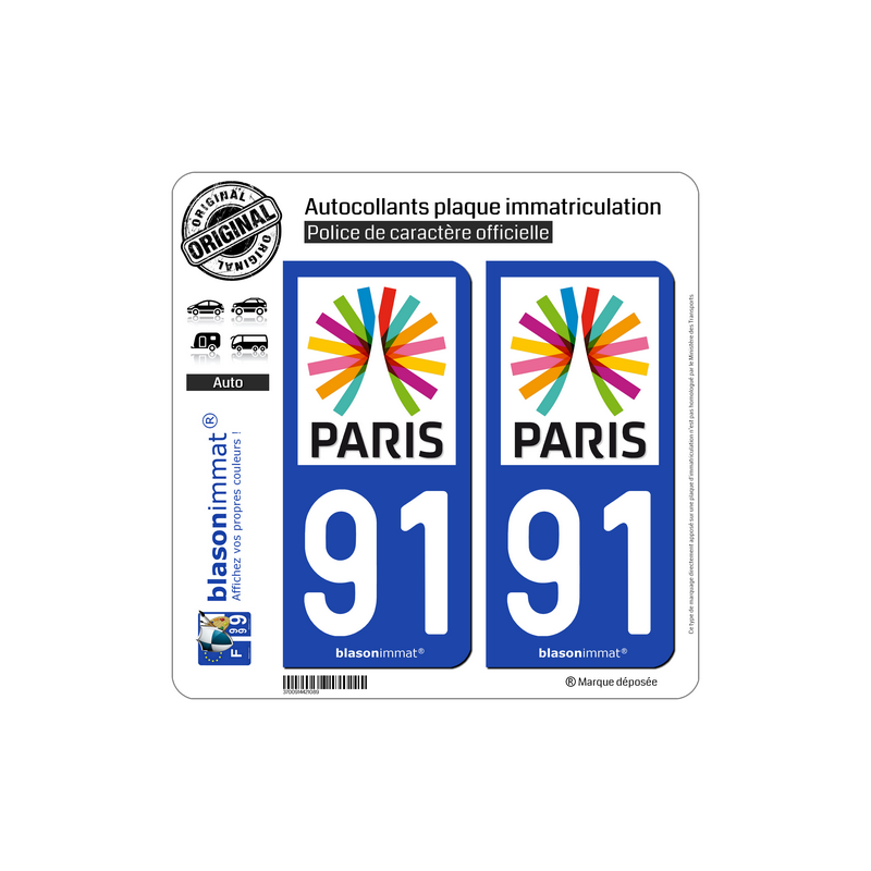 2 Adhésifs plaque immatriculation auto91 Essonne Département
