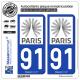 2 Autocollants plaque immatriculation Auto 91 Île-de-France - Tourisme