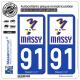2 Autocollants plaque immatriculation Auto 91 Massy - Ville
