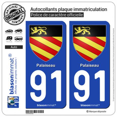 2 Autocollants plaque immatriculation Auto 91 Palaiseau - Armoiries