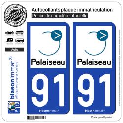 2 Autocollants plaque immatriculation Auto 91 Palaiseau - Ville