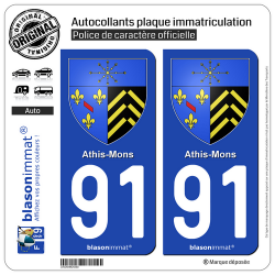 2 Autocollants plaque immatriculation Auto 91 Athis-Mons - Armoiries