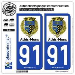 2 Autocollants plaque immatriculation Auto 91 Athis-Mons - Commune