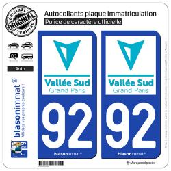 2 Autocollants plaque immatriculation Auto 92 Antony - Agglo